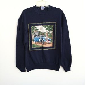 Vintage Upcycled Car Crewneck Sweatshirt Medium